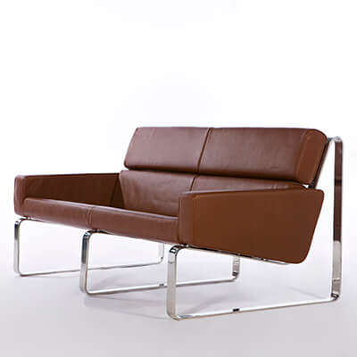 Stainless steel leather office sofa