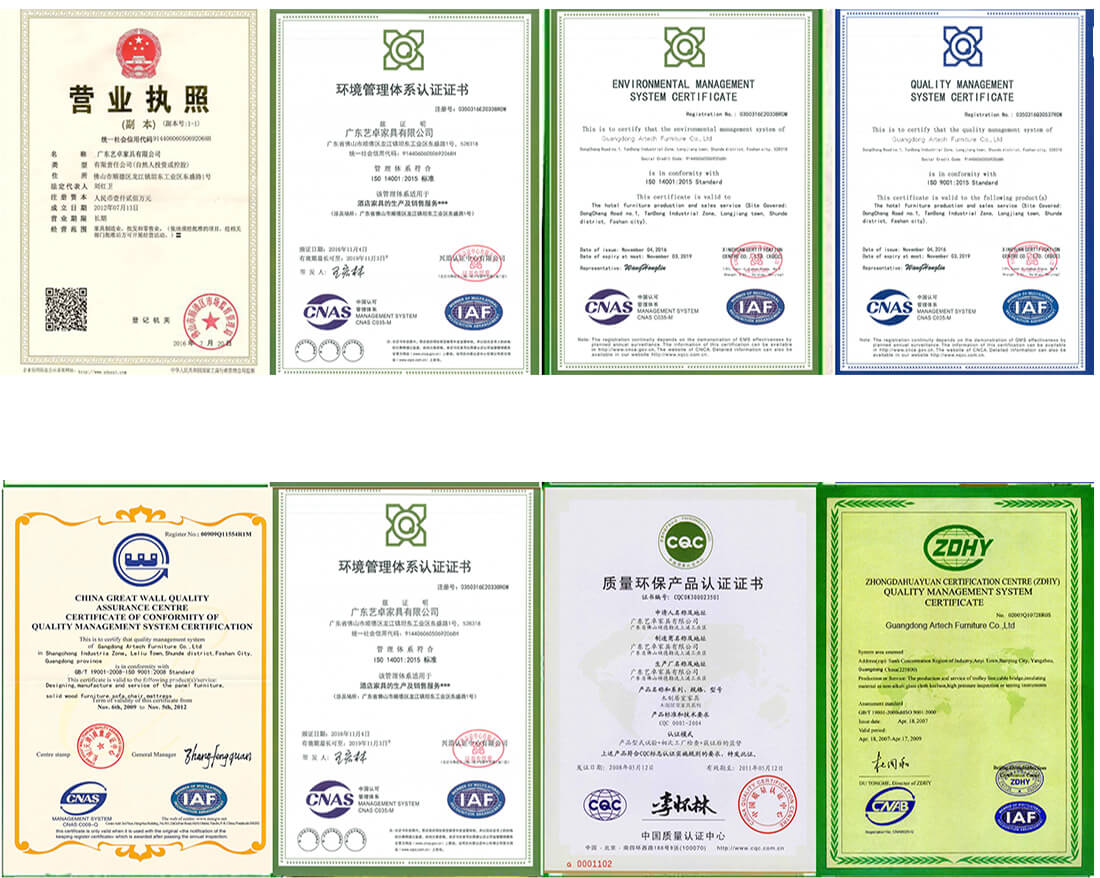 certificaiton for hotel furnitrure manufacturers